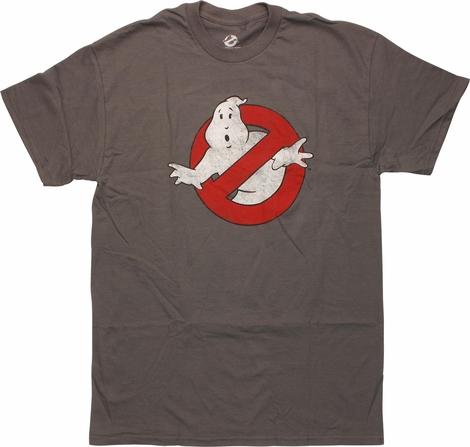 Ghostbusters Distressed Classic Logo Gray T-Shirt