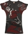 Harley Quinn Crackle V Neck Juniors Tunic Shirt