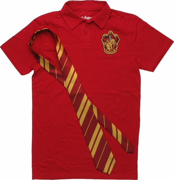 Harry Potter Gryffindor Crest Tie And Polo Shirt