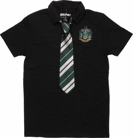 Harry Potter Slytherin Crest Tie and Polo Shirt