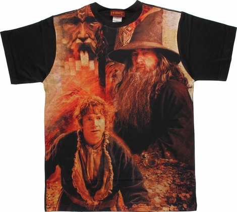Hobbit Bilbo Gandalf Treasure Sublimated T Shirt Sheer