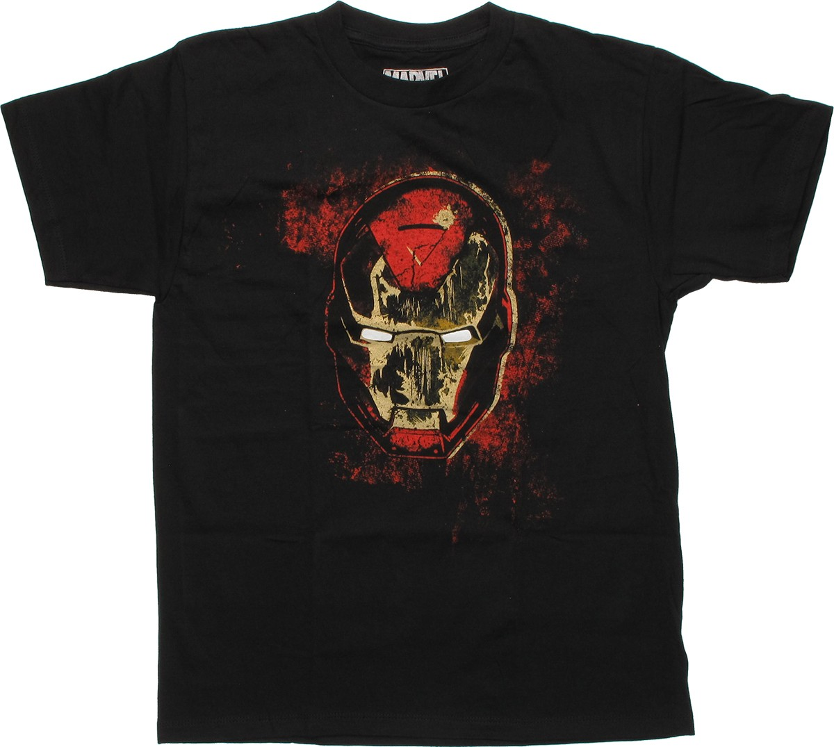 iron man distressed head youth t shirt. Black Bedroom Furniture Sets. Home Design Ideas