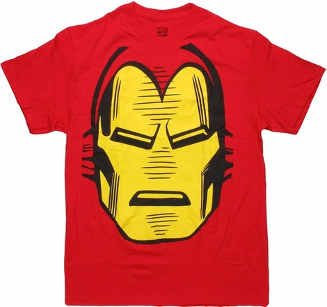 Iron Man Giant Face Red T Shirt