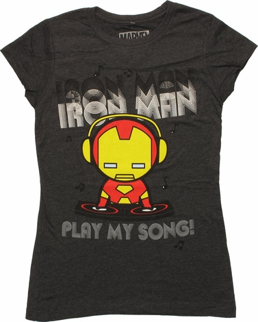 Iron Man Toy Play My Song Baby Tee