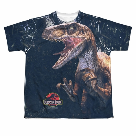Jurassic Park Close Raptor Dye Sub Youth T Shirt