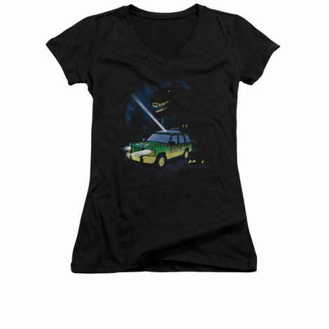 Jurassic Park Turn It Off V Neck Juniors T Shirt