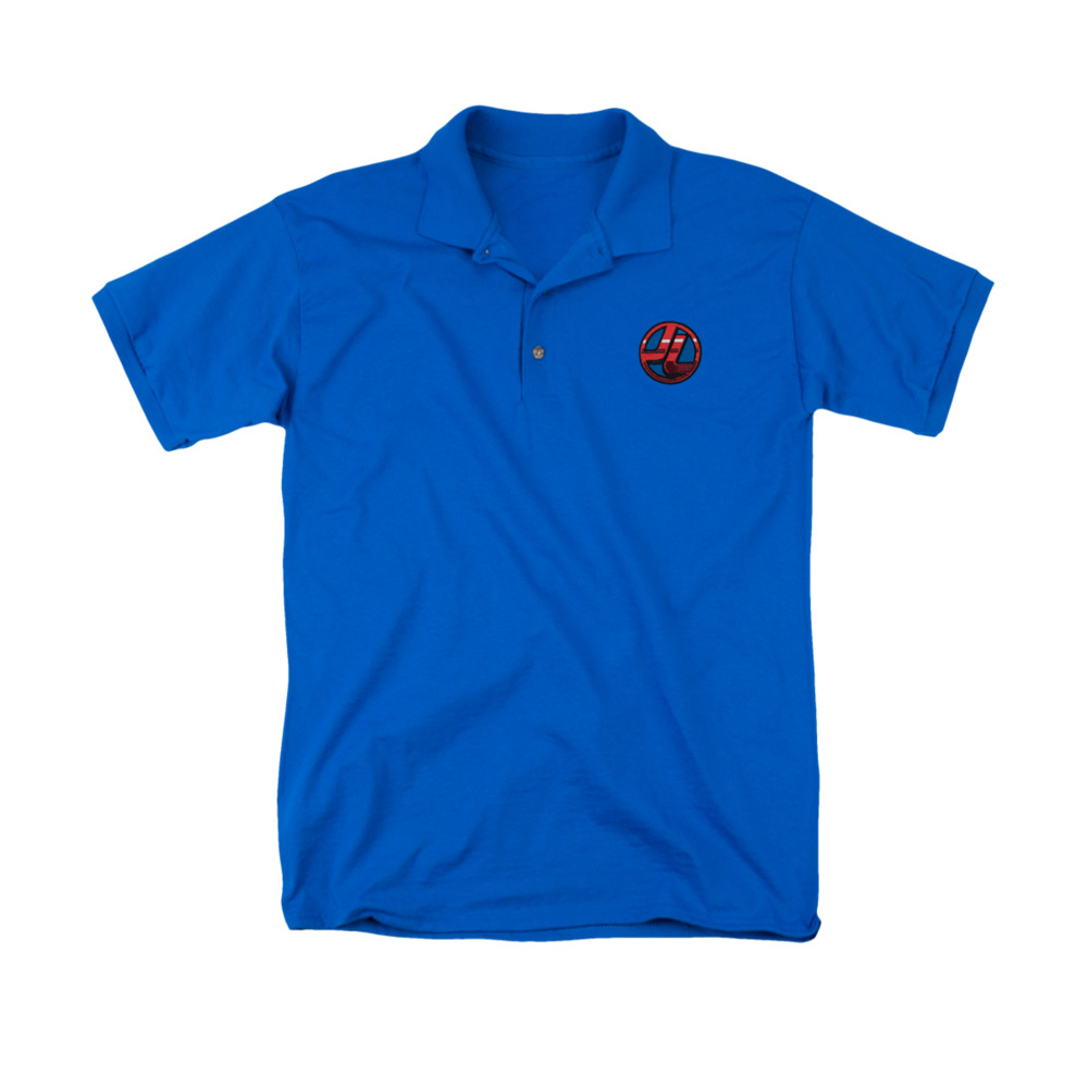 Justice league embroidered logo polo shirt for Logo printed polo shirts