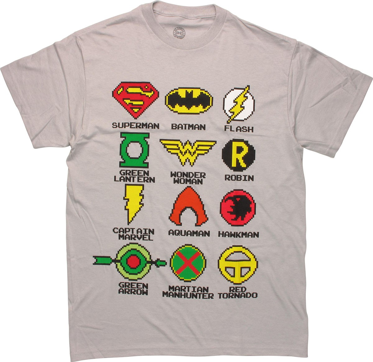 Justice league pixel logos t shirt for T shirts with logos