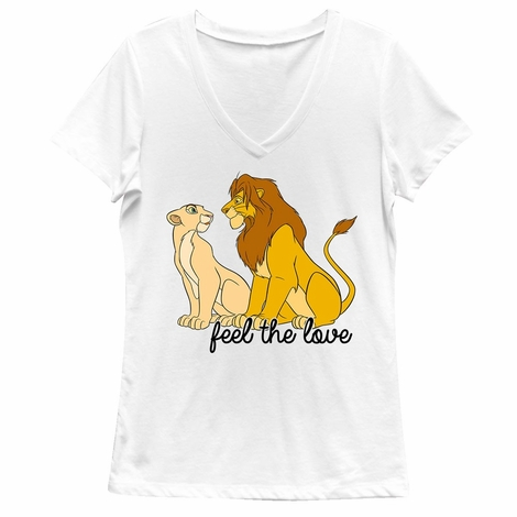 Lion King Feel the Love V Neck Juniors T-Shirt