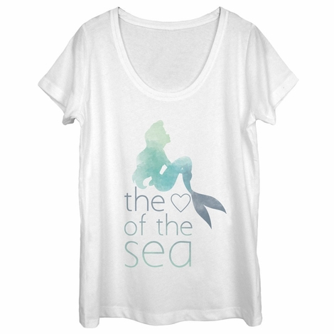 Little Mermaid Heart Sea Scoop Neck Ladies T-Shirt