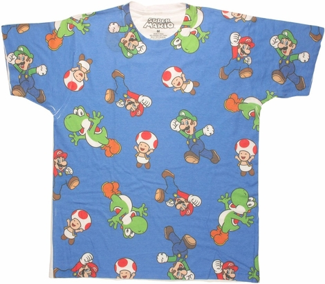 Mario Character Jumble Sublimated T Shirt Sheer