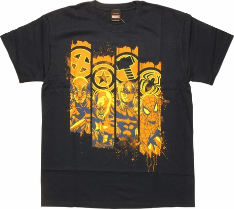 Marvel Character and Logos Navy T-Shirt