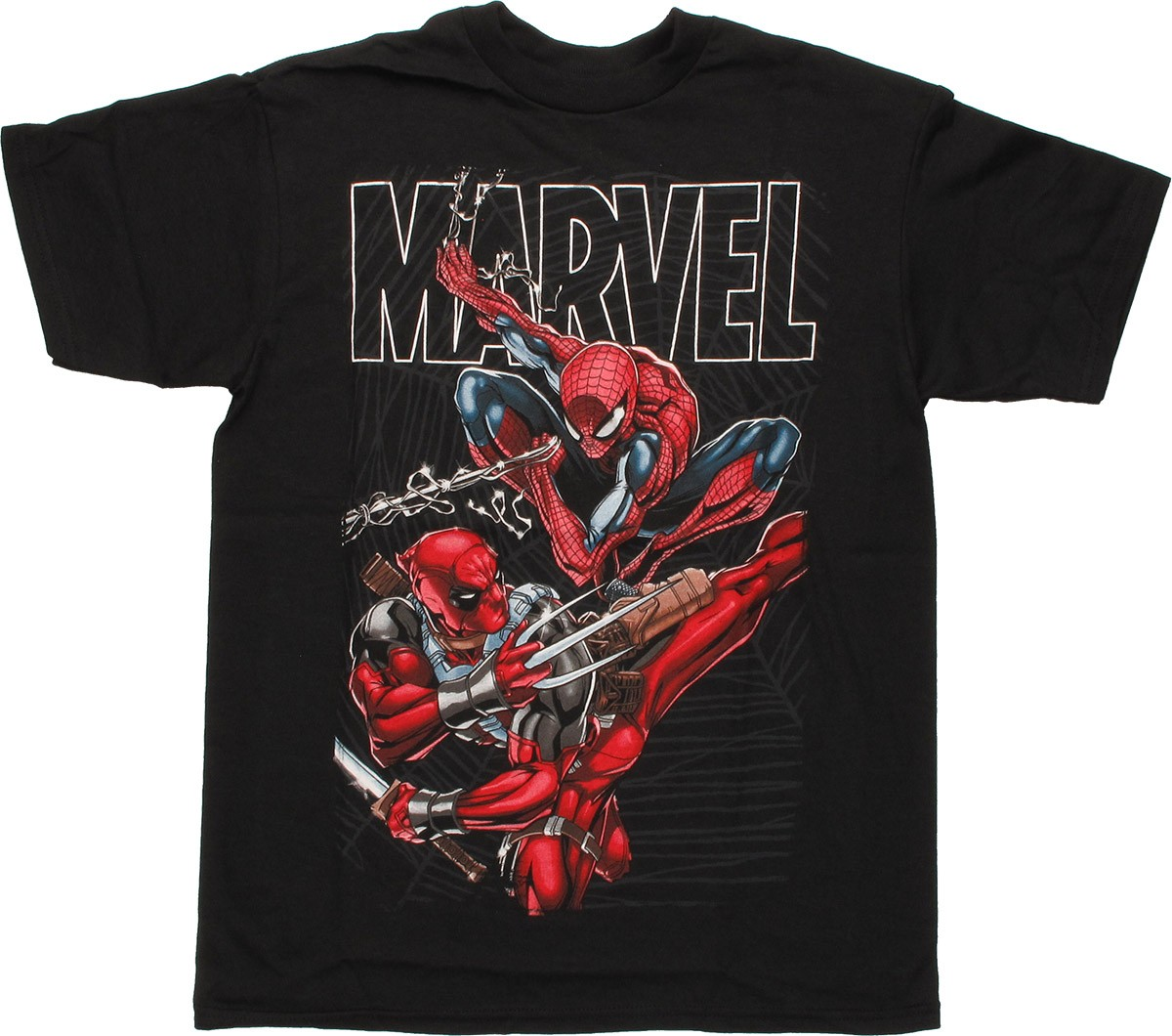 marvel deadpool spiderman duo youth t shirt. Black Bedroom Furniture Sets. Home Design Ideas