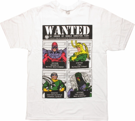 Marvel Villains Wanted By Order of SHIELD T-Shirt