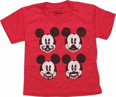 Mickey Mouse Mustache Quad Red Juvenile T Shirt