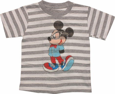 Mickey Mouse Nerd Stripe Toddler T Shirt