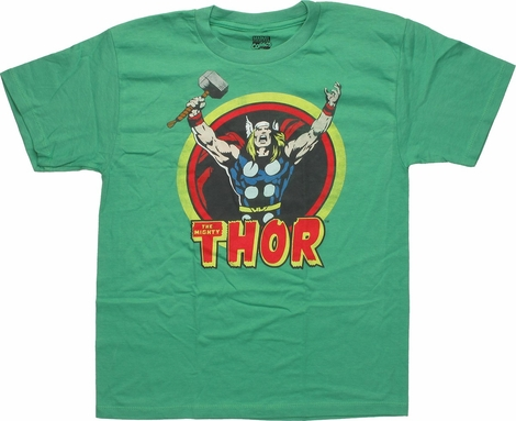 Mighty Thor in a Circle Arms Raised Youth T-Shirt