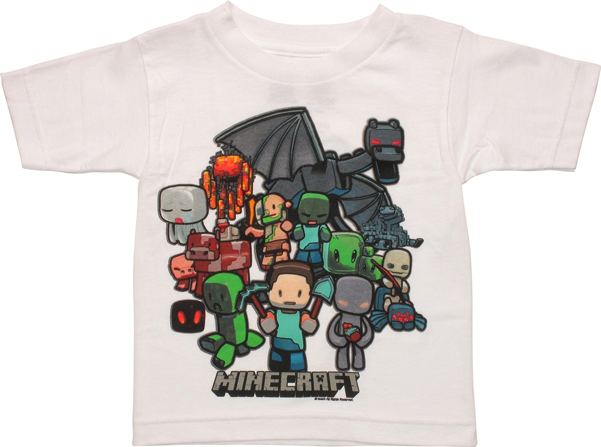 Minecraft group white toddler t shirt for Mine craft t shirt