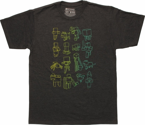Minecraft Neon Outlined Blocks T-Shirt