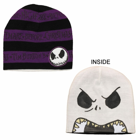 Before Christmas Purple Striped Reversible Beanie