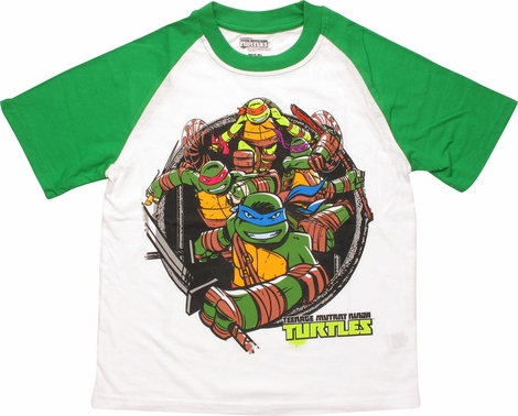 Ninja turtles group green sleeved juvenile t shirt for Green turtle t shirts review