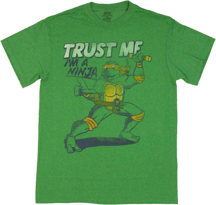 Ninja turtles trust me t shirt for Green turtle t shirts review
