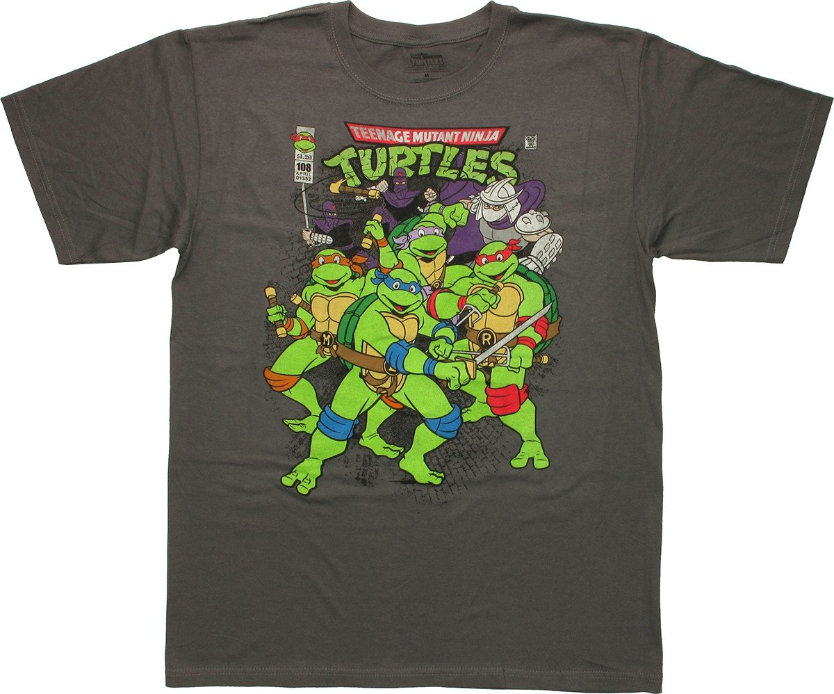 Ninja turtles vintage comic cover charcoal t shirt for Turtle t shirts online