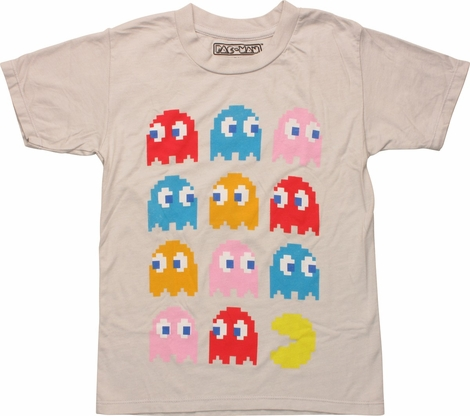 Pacman 11 Ghosts In Rows Juvenile T-Shirt