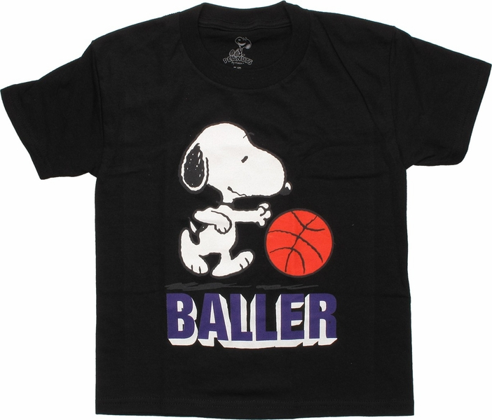 peanuts snoopy baller black juvenile t shirt. Black Bedroom Furniture Sets. Home Design Ideas