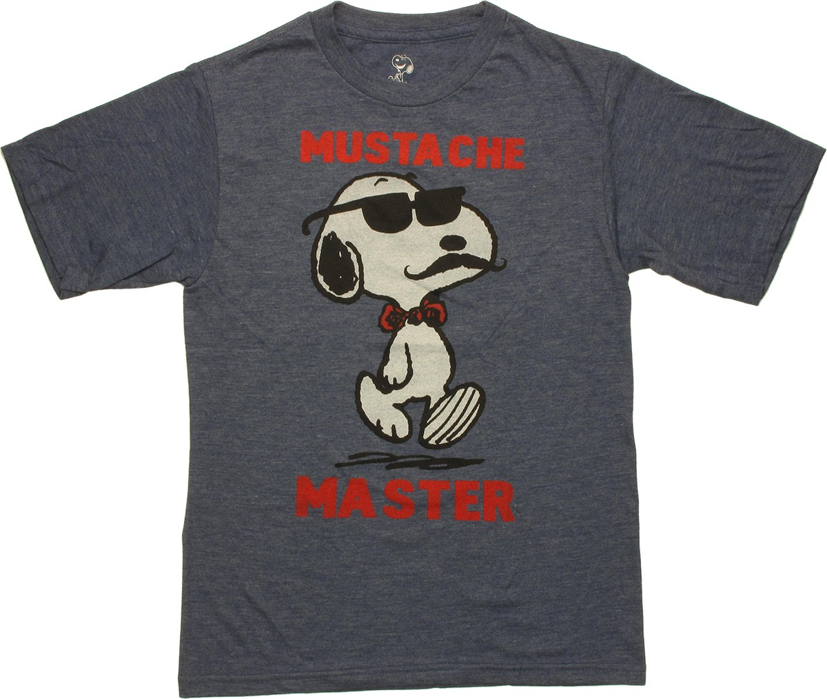 peanuts snoopy mustache master youth t shirt. Black Bedroom Furniture Sets. Home Design Ideas