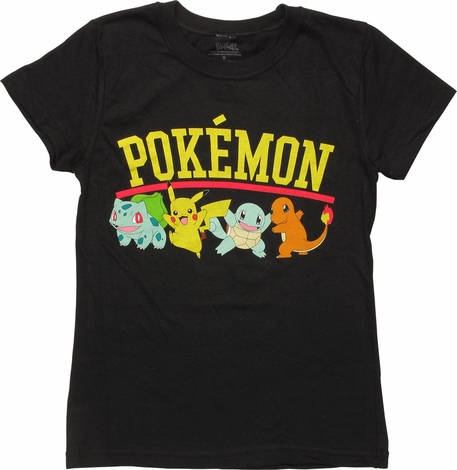 Pokemon Classic Starters Name Girls Youth T-Shirt