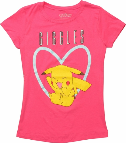 Pokemon Pikachu In Heart Giggles Juniors T-Shirt