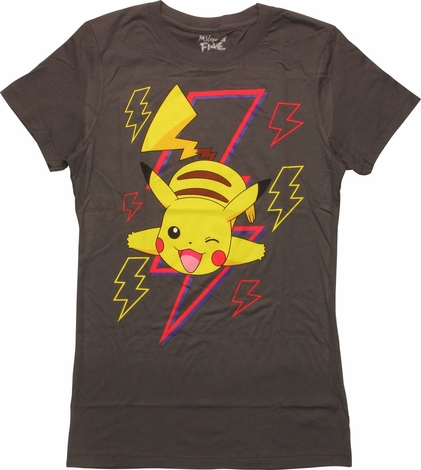 Pokemon Pikachu Wink Bolts MF Juniors T-Shirt