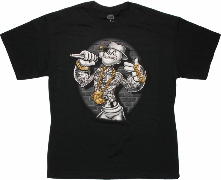 popeye mic bling t shirt. Black Bedroom Furniture Sets. Home Design Ideas