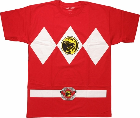 Power Rangers Red Costume Flip Up Face MF T-Shirt
