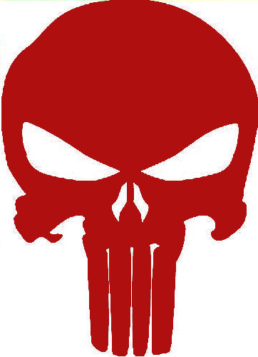 Punisher Large Skull Red Decal