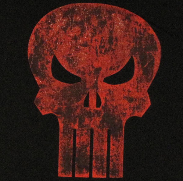 Punisher Rough Red Skull T Shirt Sheer