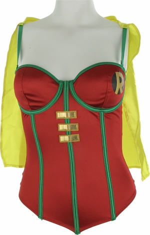 Robin Costume Yellow Caped Corset Lingerie