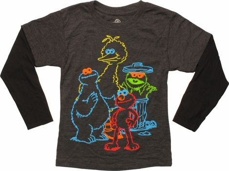 Sesame Street Neon Characters LS Juvenile T-Shirt
