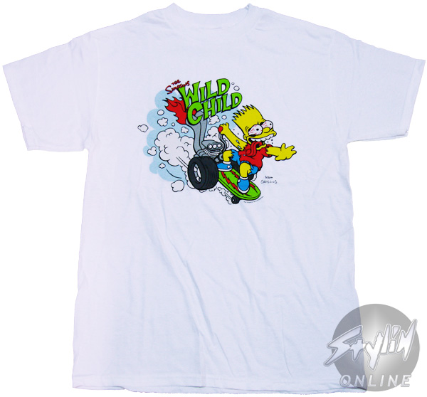 Simpsons bart wild child t shirt for Simpsons t shirts online