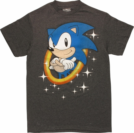 Sonic the Hedgehog Gold Ring and Stars T-Shirt