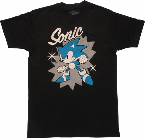 Sonic the Hedgehog Name Pose Stars T-Shirt