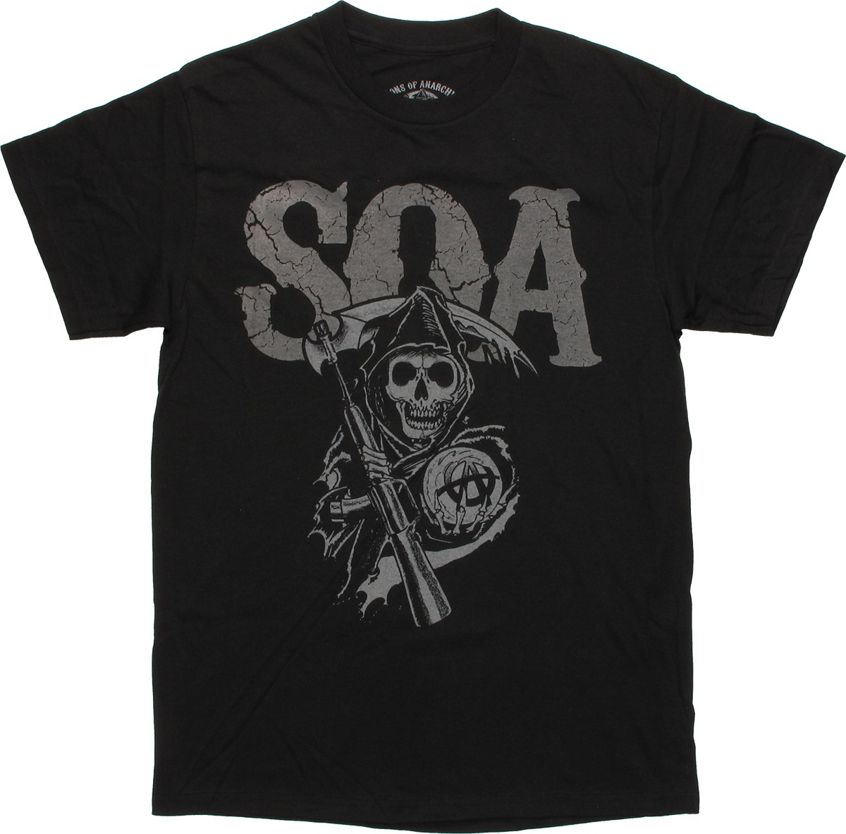 sons of anarchy cracked soa black t shirt. Black Bedroom Furniture Sets. Home Design Ideas