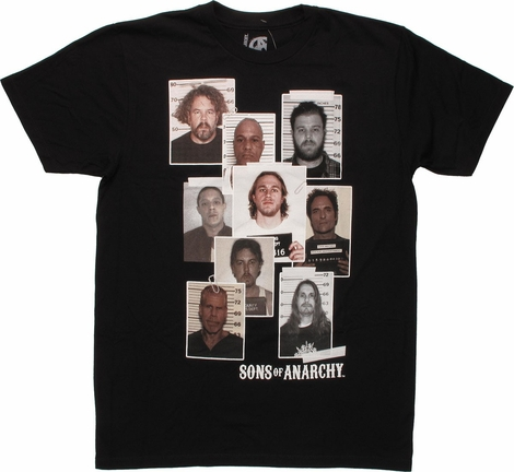 Sons of Anarchy Mug Shot Collage T-Shirt