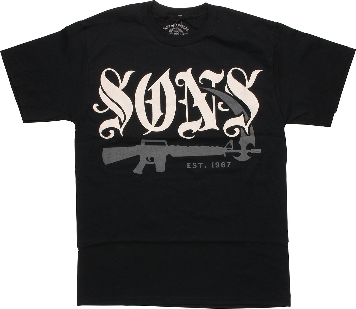 sons of anarchy old english guns t shirt. Black Bedroom Furniture Sets. Home Design Ideas