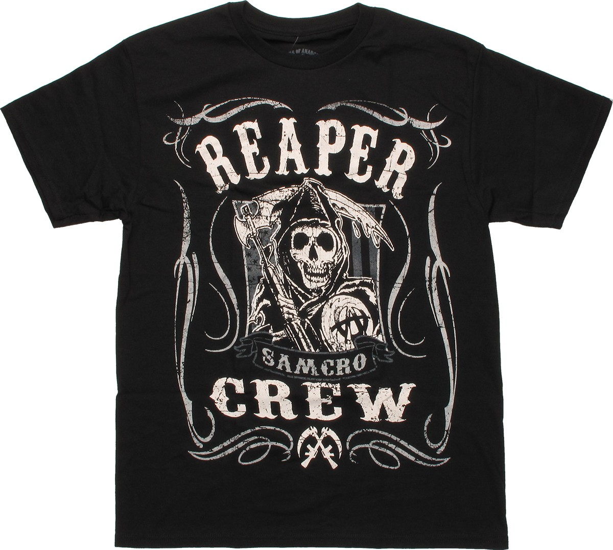 sons of anarchy reaper crew scroll t shirt. Black Bedroom Furniture Sets. Home Design Ideas