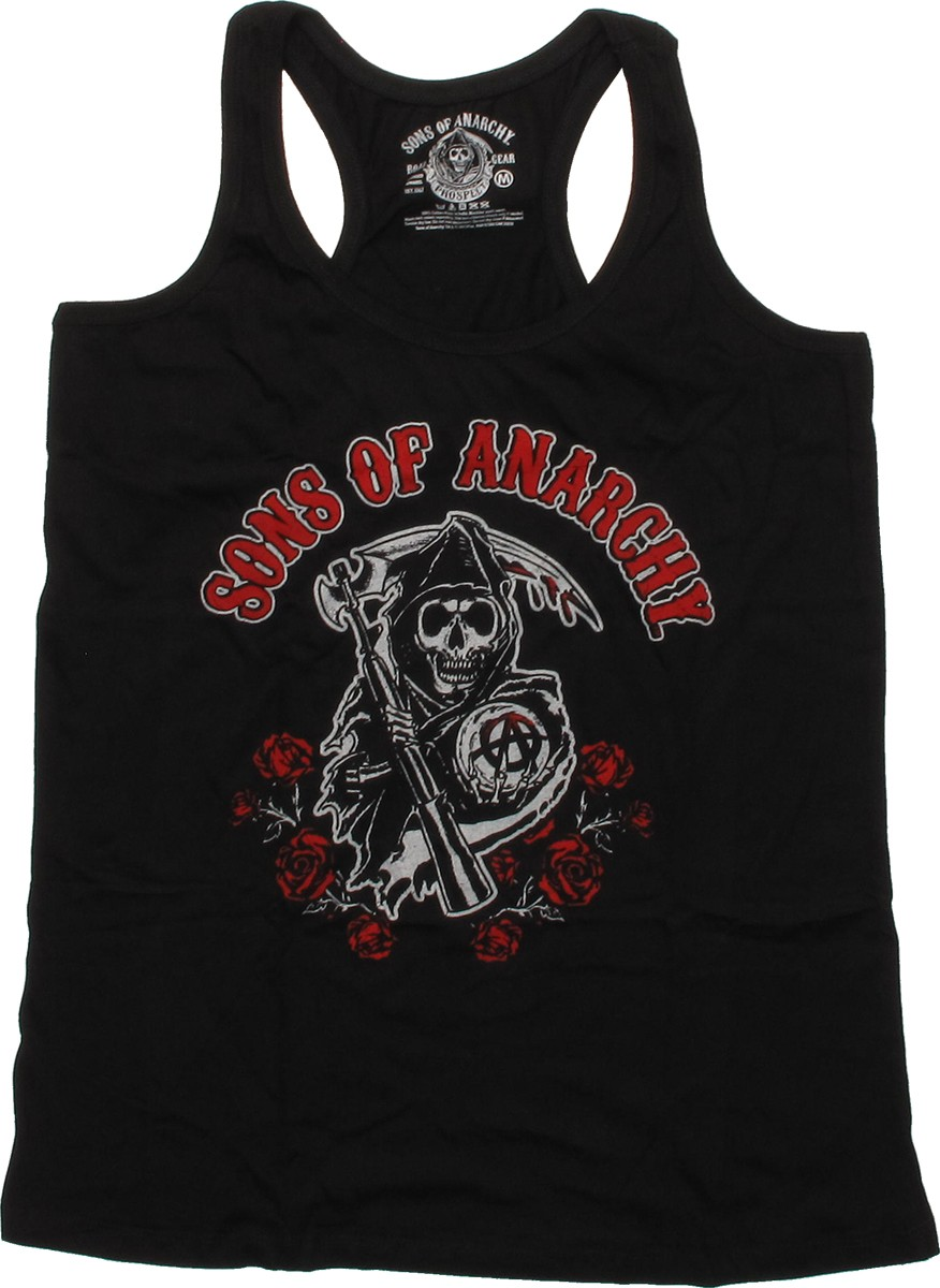 sons of anarchy roses tank top juniors t shirt. Black Bedroom Furniture Sets. Home Design Ideas