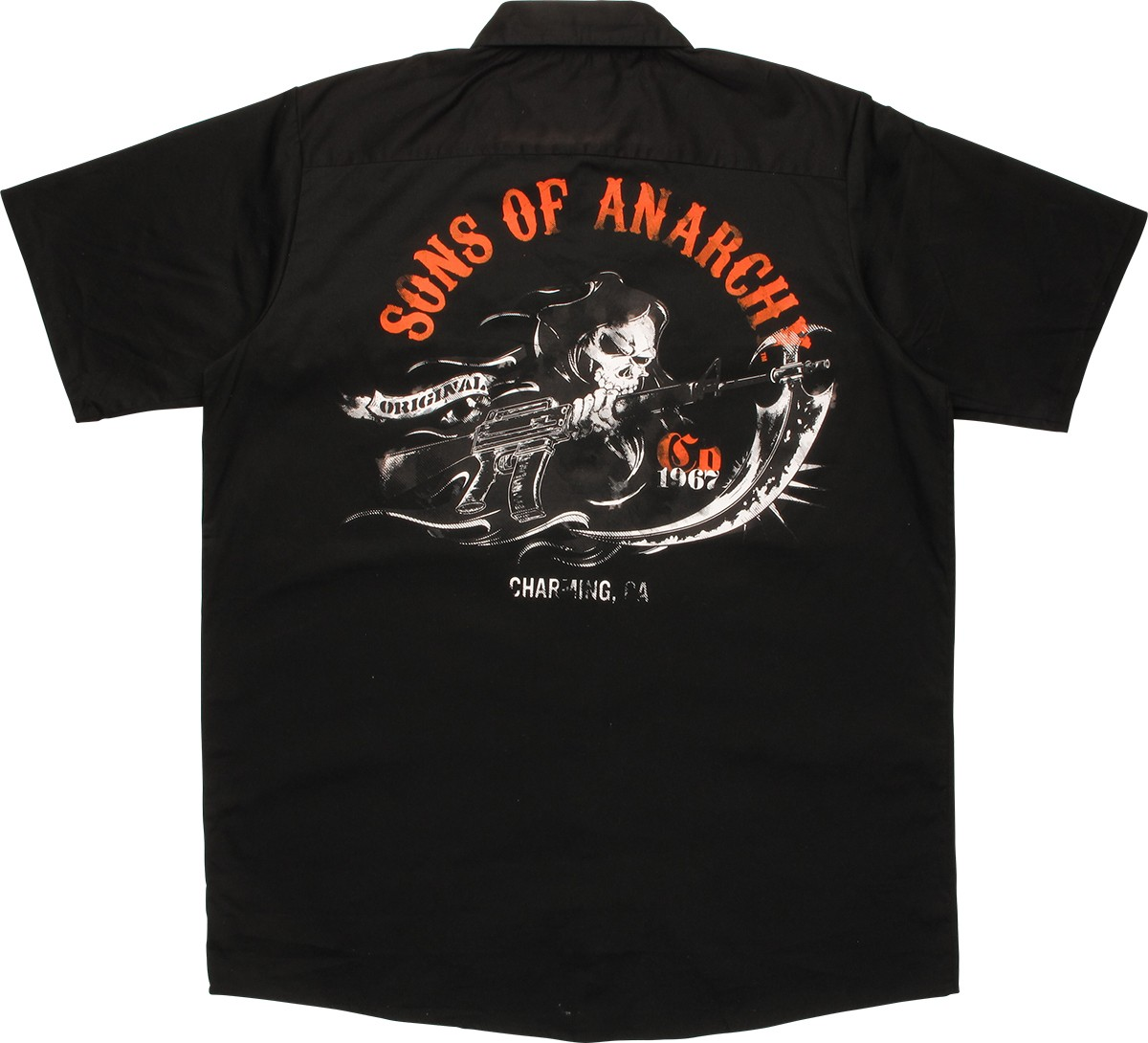 sons of anarchy soa patch work shirt. Black Bedroom Furniture Sets. Home Design Ideas
