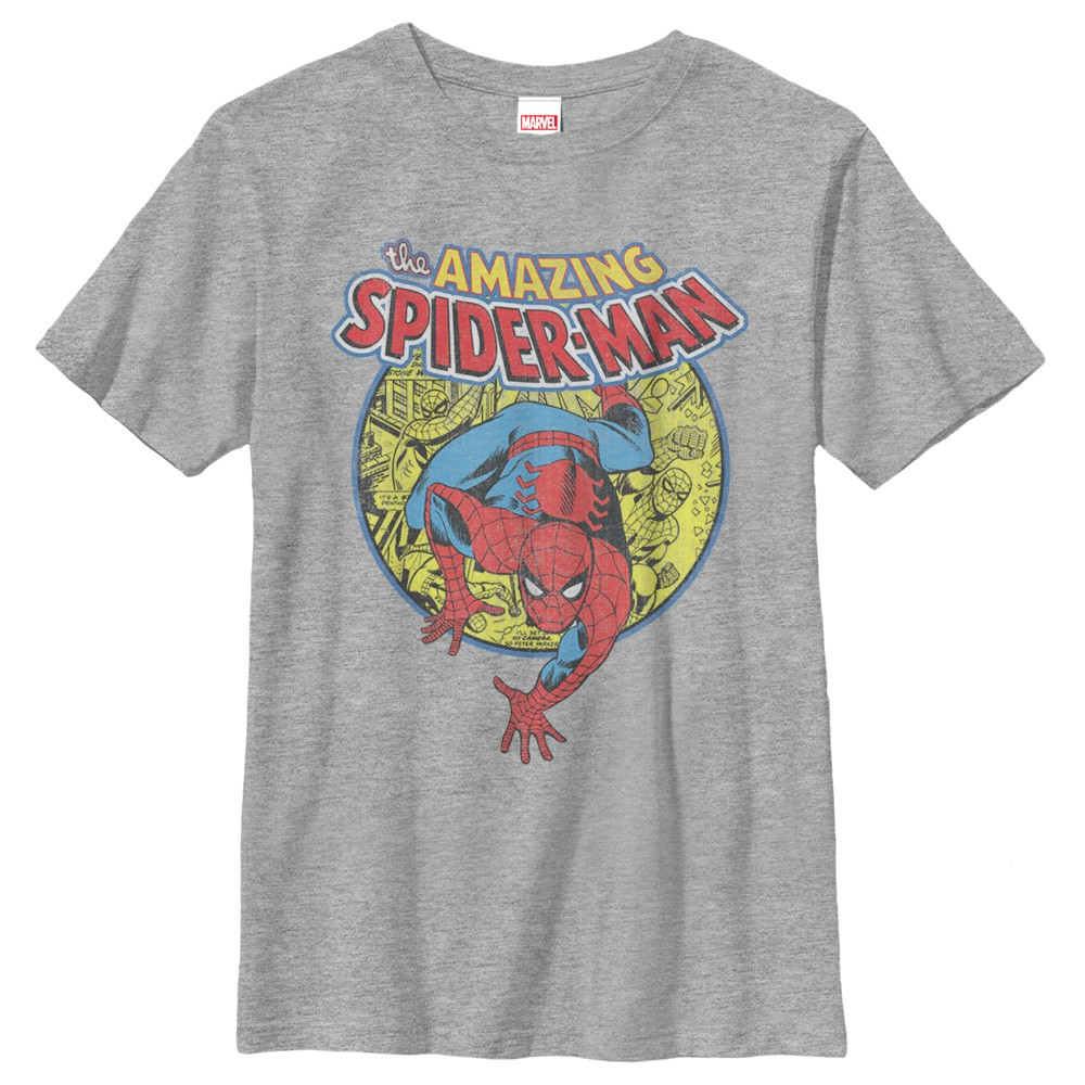 spiderman comic crawl youth t shirt. Black Bedroom Furniture Sets. Home Design Ideas