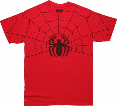 Spiderman Half Web Spider Logo Distressed T-Shirt
